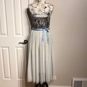 Sequin Tulle Fit Flare Straps Halloween Prom Party
